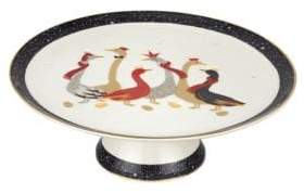 Portmeirion Geese 22K Gold and Porcelain Footed Cake Plate
