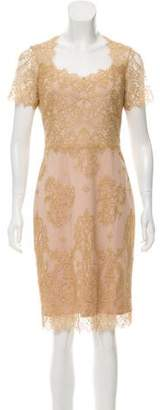 Marchesa Knee-Length Lace Dress