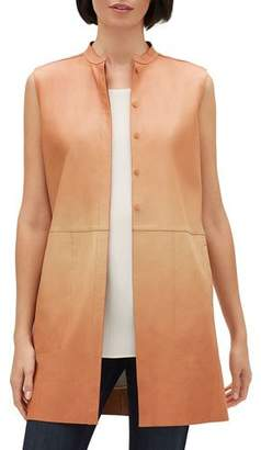 Lafayette 148 New York Malva Ombre Button-Front Lambskin Leather Vest
