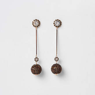 River Island Gold tone cup chain ball drop earrings