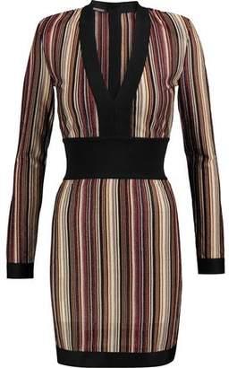 Balmain Striped Paneled Stretch-Knit Mini Dress