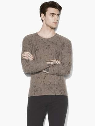 John Varvatos Splatter Print Crewneck Sweater
