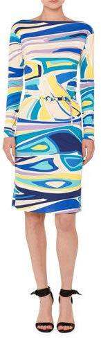 Emilio Pucci Emilio Pucci Marilyn Long-Sleeve Belted Boat-Neck Dress, Multicolor