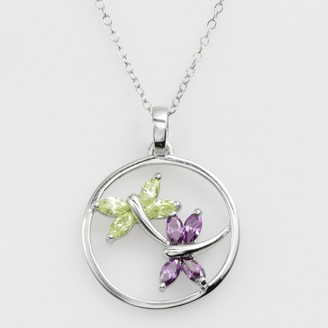 Jewelry For Trees Jewelry for Trees Platinum Over Silver Cubic Zirconia Dragonfly Pendant