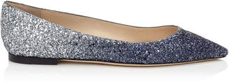 Jimmy Choo ROMY FLAT Navy and Silver Coarse Glitter Degradé Pointy Toe Flats