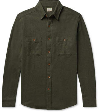 Faherty Cotton-Flannel Shirt - Men - Dark green