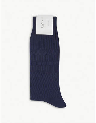 Ayame Solid Basket cotton-blend socks