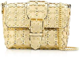 RED Valentino Flower Puzzle Golden Leather Crossbody Bag