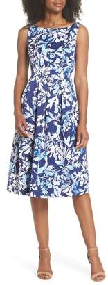 Eliza J Seamed Bodice Fit & Flare Dress