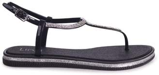 309a49e1b Linzi Storm Black Glitter Jelly Sandals With Diamante Toe Post