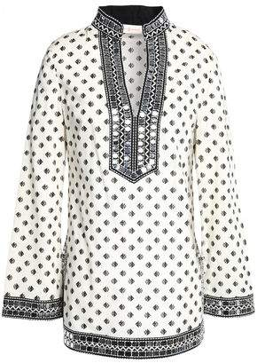 Tory Burch Embellished Printed Cotton-poplin Tunic