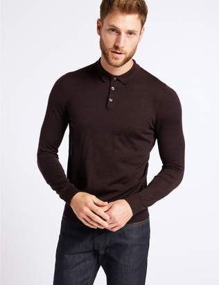 Marks and Spencer Pure Merino Wool Knitted Polo