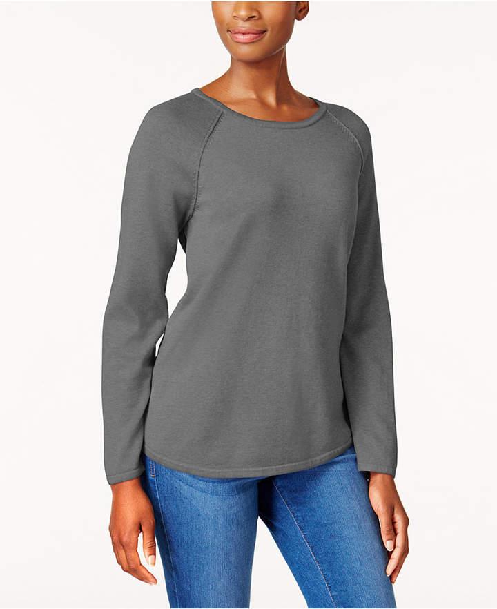 Karen Scott Cotton Curved-Hem Sweater, Created for Macy's