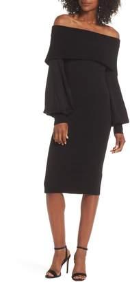 Eliza J Off the Shoulder Bishop Sleeve Sweater Dress