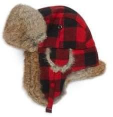 Crown Cap Rabbit Fur Buffalo Check Trapper Hat