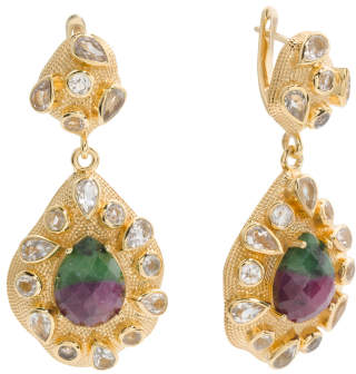 Made In India Sterling Silver Ruby Zoisite Drop Earrings
