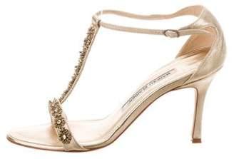 Manolo Blahnik Embellished Round-Toe Sandals