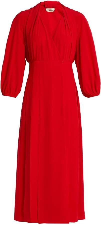 FENDI Pleat-front crepe de Chine midi dress