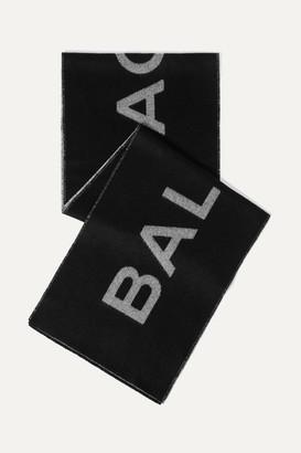 Balenciaga Intarsia Cashmere And Wool-blend Scarf - Black