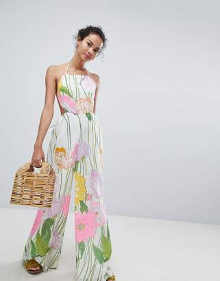 406036dd30 Asos Design DESIGN jumpsuit with open back in 70 s floral print