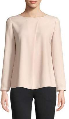 Emporio Armani Long-Sleeve Pleated-Front Blouse