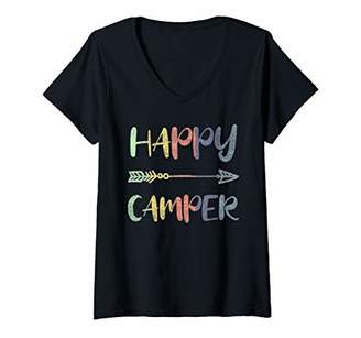 Camper Womens Vintage Arrow Boho Style Camping Campers Family Shirt V-Neck T-Shirt