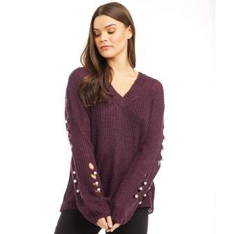Jacqueline De Yong Womens Solomon Pearl V-Neck Jumper Potent Purple