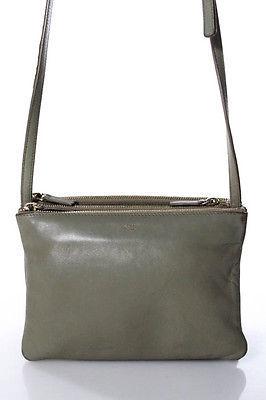 CelineCeline Gray Leather Tino Crossbody Handbag