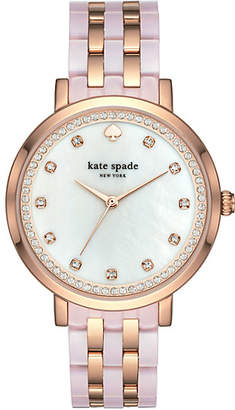 Kate Spade Monterey pink and rose gold-tone stainless steel bracelet watch