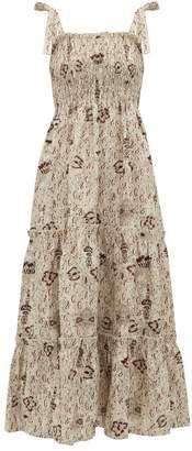 BEIGE Sir - Stella Shirred Floral Print Linen Dress - Womens
