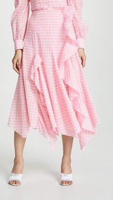 ANAÏS JOURDEN Striped Midi Skirt with Ruffle