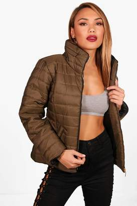 boohoo Quilted Funnel Neck Jacket