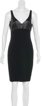 L'Agence Sleeveless Leather-Paneled Dress w/ Tags