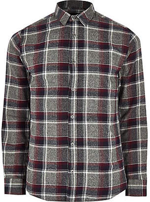 Mens Red check slim fit shirt