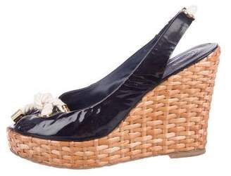 Tory Burch Patent Leather Wedge Sandals