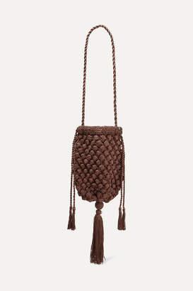 Nannacay Net Sustain Electra Tasseled Crocheted Shoulder Bag - Brown