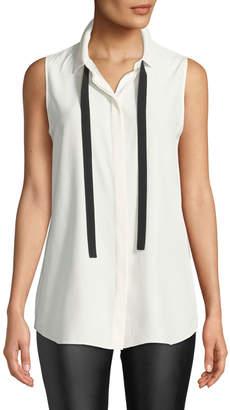 Lafayette 148 New York Dorete Button-Front Sleeveless Silk Blouse w/ Chain Detail