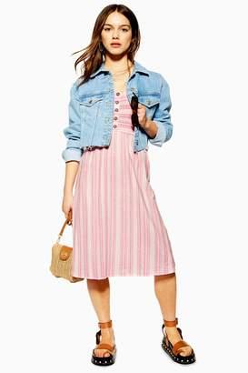 Topshop Womens Petite Shirred Midi Dress - Coral