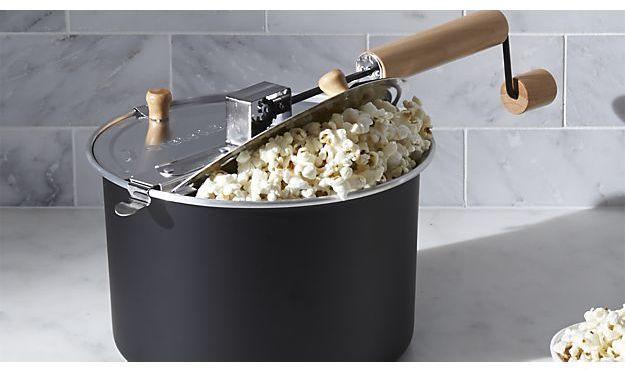 Crate & Barrel Stovetop Popcorn Popper Black
