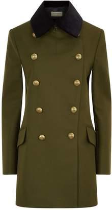 Burberry Velvet Collar Wool Military Coat