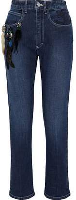 Sonia Rykiel Cropped Embellished Embroidered High-Rise Slim-Leg Jeans