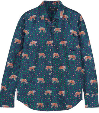 J.Crew - Printed Silk-twill Shirt - Blue $130 thestylecure.com