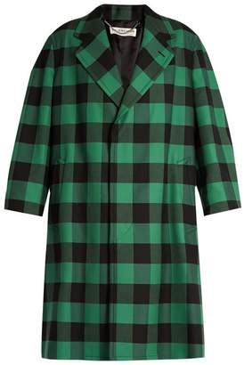 Balenciaga Godfather Checked Oversized Coat - Womens - Green Multi