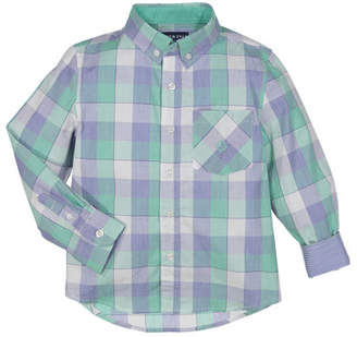 Andy & Evan Button-Down Check Shirt w/ Contrast Rolled Cuffs, Size 2-7