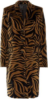 Nili Lotan Rosalin Single-Breasted Tiger-Print Cotton Coat Size: 0