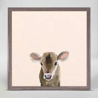 Oopsy Daisy Fine Art For Kids Baby Brown Cow by Cathy Walters Mini Canvas Framed Art