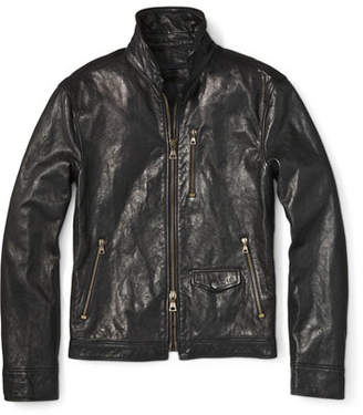 John Varvatos Men's Short Leather Zip-Front Jacket
