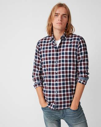 Express Classic Soft Wash Check Print Button Collar Shirt