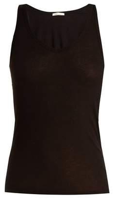 Skin - Scoop Neck Cotton Pyjama Tank Top - Womens - Black