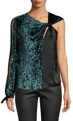 Yigal Azrouel One-Sleeve Burnt Velvet Blouse